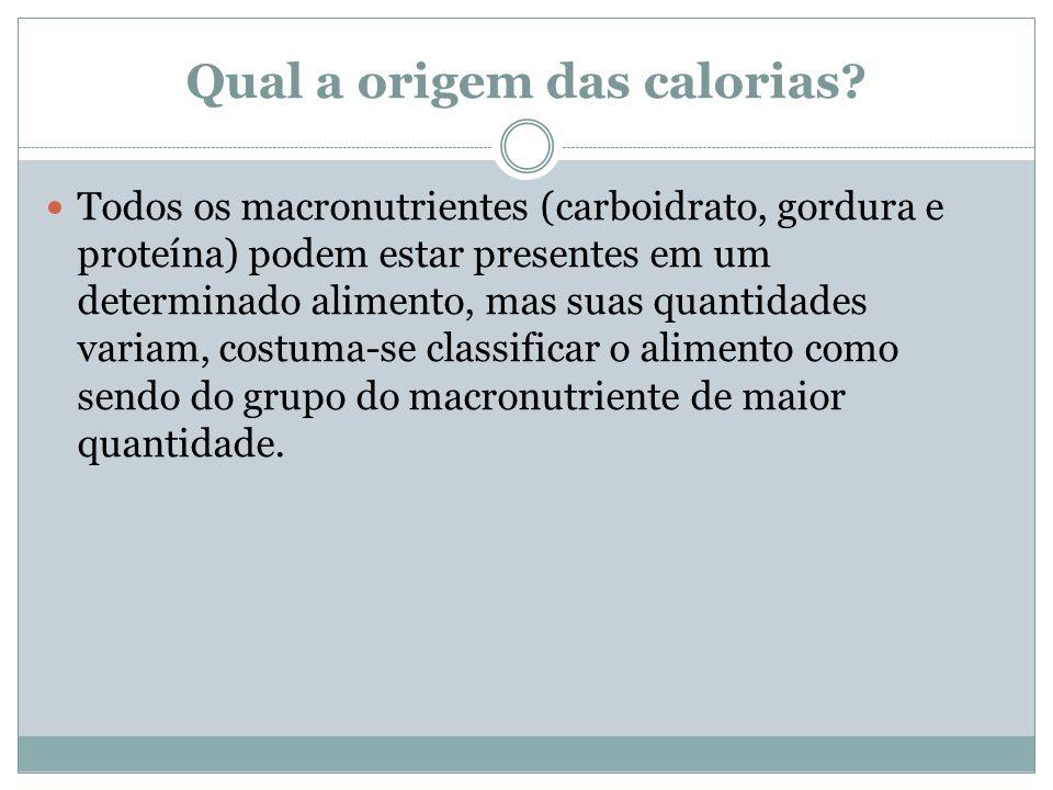 Qual a origem das calorias.