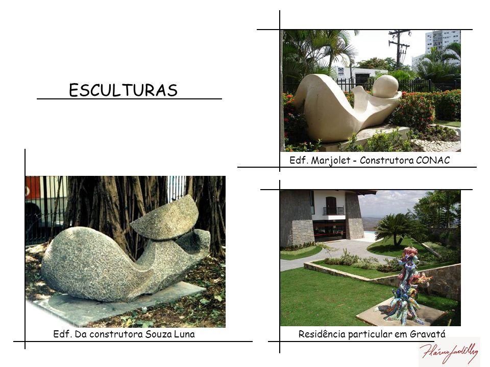 ESCULTURAS Jardim de escultura Atelier Flávio Gadelha Gravatá EDF. Amália Rodrigues Recife PE Construtora Vale do Ave 3 faces da mulher Maceió-Al cons