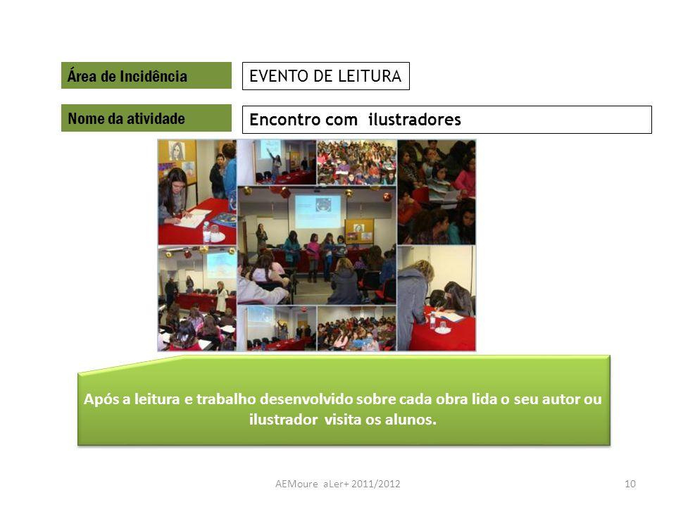 AEMoure aLer+ 2011/201210 Área de Incidência Nome da atividade Encontro com ilustradores EVENTO DE LEITURA Após a leitura e trabalho desenvolvido sobr