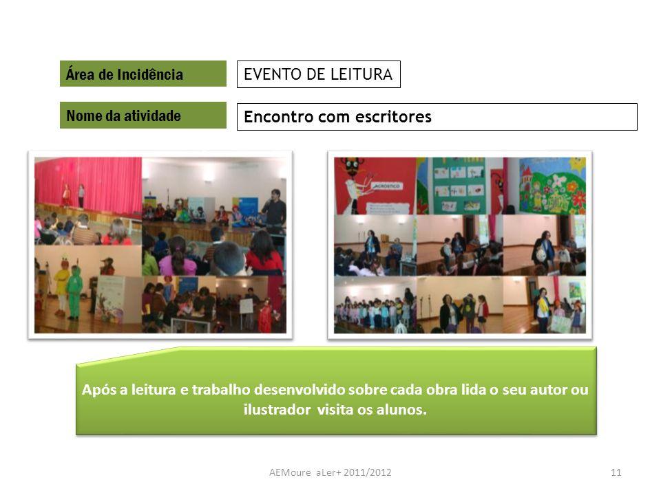 AEMoure aLer+ 2011/201211 Área de Incidência Nome da atividade Encontro com escritores EVENTO DE LEITURA Após a leitura e trabalho desenvolvido sobre