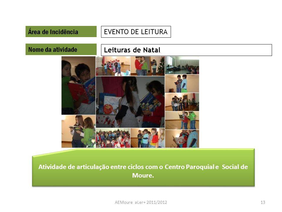 AEMoure aLer+ 2011/201213 Área de Incidência Nome da atividade Leituras de Natal EVENTO DE LEITURA Atividade de articulação entre ciclos com o Centro