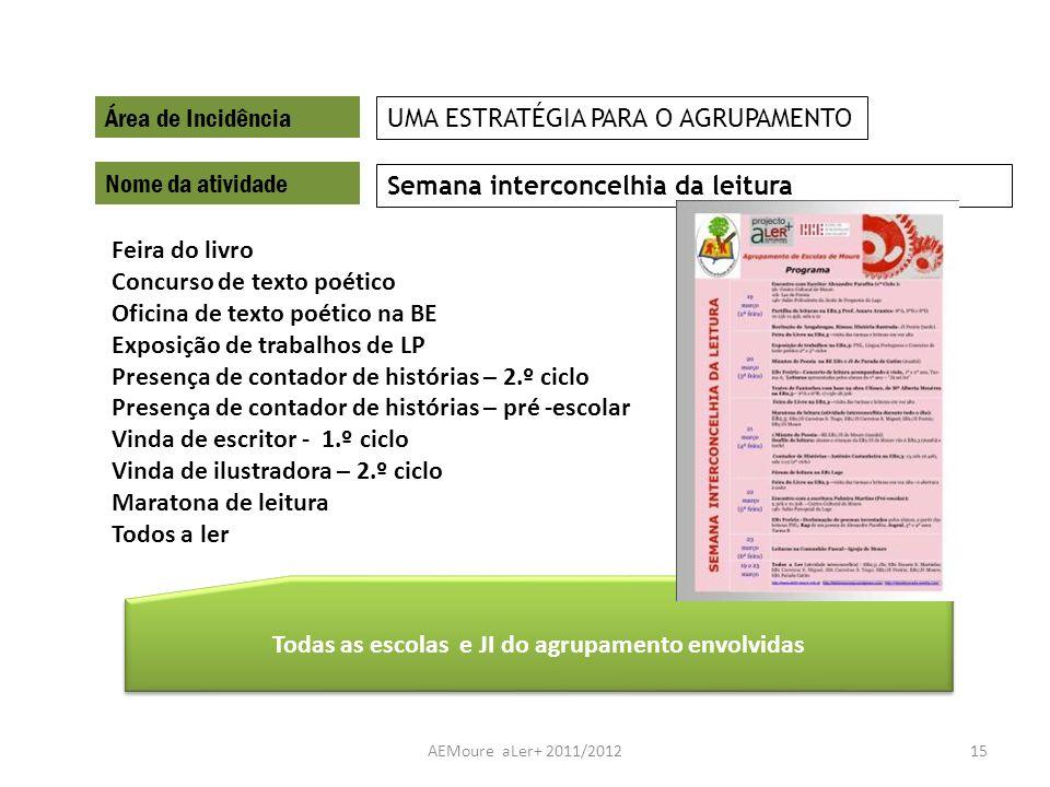 AEMoure aLer+ 2011/201215 Área de Incidência Nome da atividade Semana interconcelhia da leitura UMA ESTRATÉGIA PARA O AGRUPAMENTO Todas as escolas e J