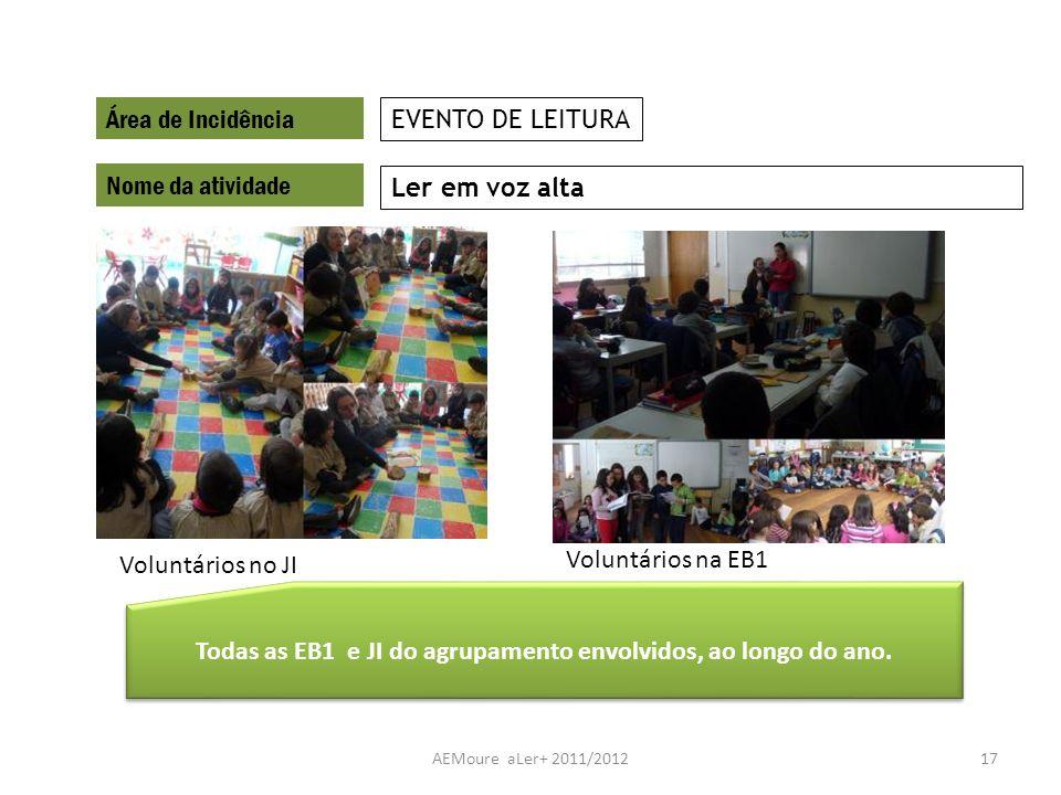 AEMoure aLer+ 2011/201217 Área de Incidência Nome da atividade Ler em voz alta EVENTO DE LEITURA Todas as EB1 e JI do agrupamento envolvidos, ao longo