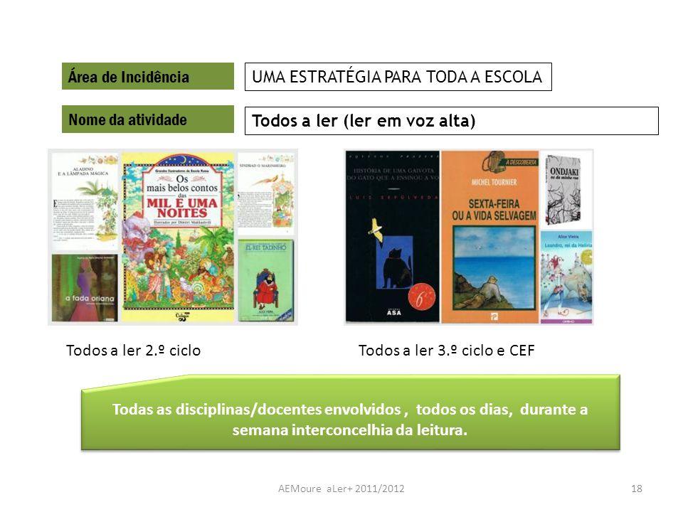 AEMoure aLer+ 2011/201218 Área de Incidência Nome da atividade Todos a ler (ler em voz alta) UMA ESTRATÉGIA PARA TODA A ESCOLA Todas as disciplinas/do