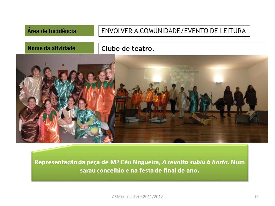 AEMoure aLer+ 2011/201219 Área de Incidência Nome da atividade Clube de teatro. ENVOLVER A COMUNIDADE/EVENTO DE LEITURA Representação da peça de Mª Cé