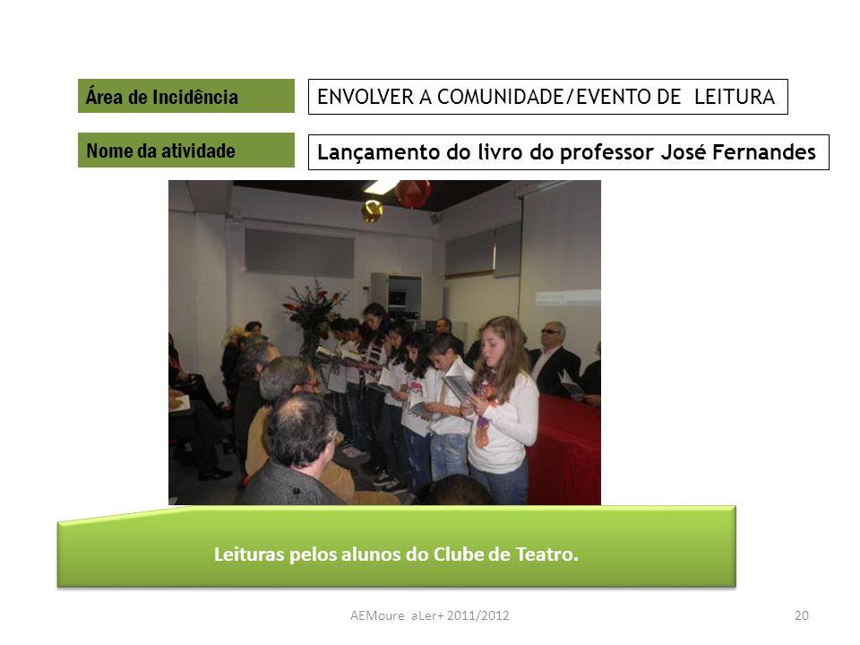 AEMoure aLer+ 2011/201220 Área de Incidência Nome da atividade Lançamento do livro do professor José Fernandes ENVOLVER A COMUNIDADE/EVENTO DE LEITURA
