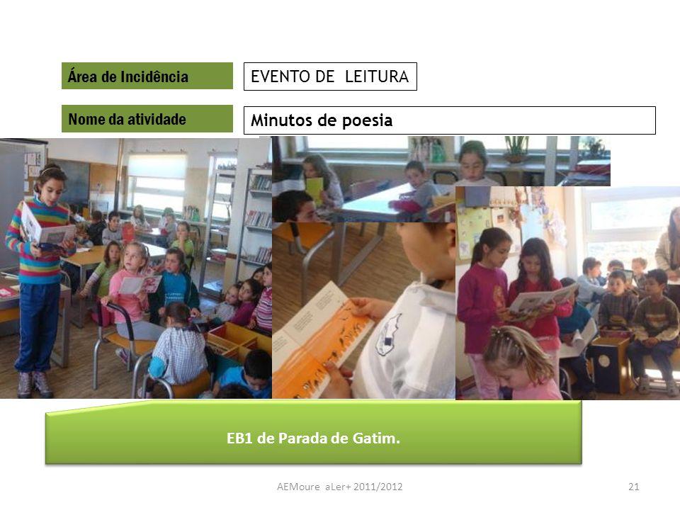 AEMoure aLer+ 2011/201221 Área de Incidência Nome da atividade Minutos de poesia EVENTO DE LEITURA EB1 de Parada de Gatim.
