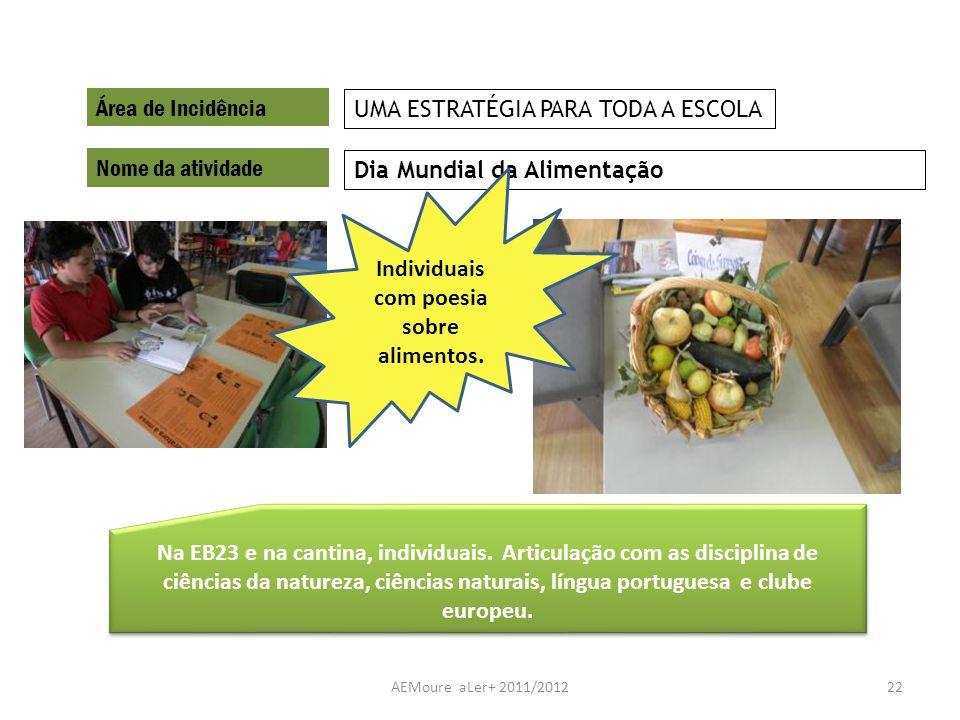 AEMoure aLer+ 2011/201222 Área de Incidência Nome da atividade Dia Mundial da Alimentação UMA ESTRATÉGIA PARA TODA A ESCOLA Na EB23 e na cantina, indi