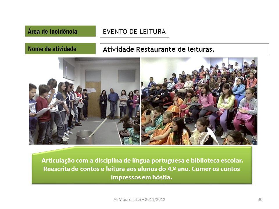 AEMoure aLer+ 2011/201230 Área de Incidência Nome da atividade Atividade Restaurante de leituras. EVENTO DE LEITURA Articulação com a disciplina de lí