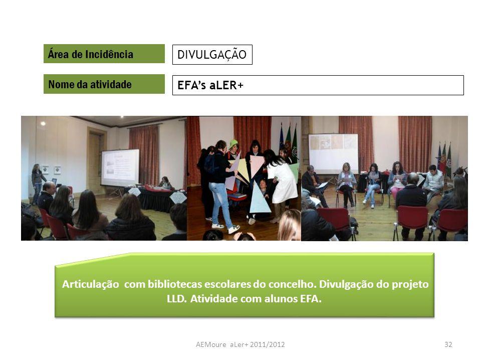 AEMoure aLer+ 2011/201232 Área de Incidência Nome da atividade EFAs aLER+ DIVULGAÇÃO Articulação com bibliotecas escolares do concelho. Divulgação do