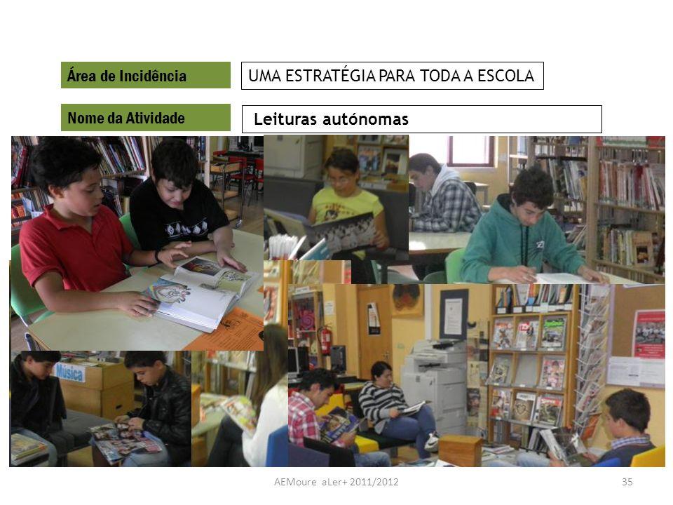 AEMoure aLer+ 2011/201235 Área de Incidência Nome da Atividade Leituras autónomas UMA ESTRATÉGIA PARA TODA A ESCOLA