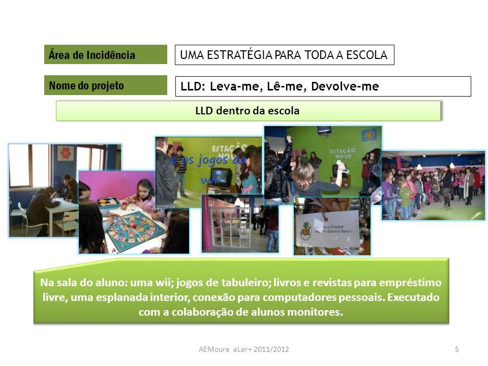 AEMoure aLer+ 2011/20125 Área de Incidência Nome do projeto LLD: Leva-me, Lê-me, Devolve-me UMA ESTRATÉGIA PARA TODA A ESCOLA Na sala do aluno: uma wi