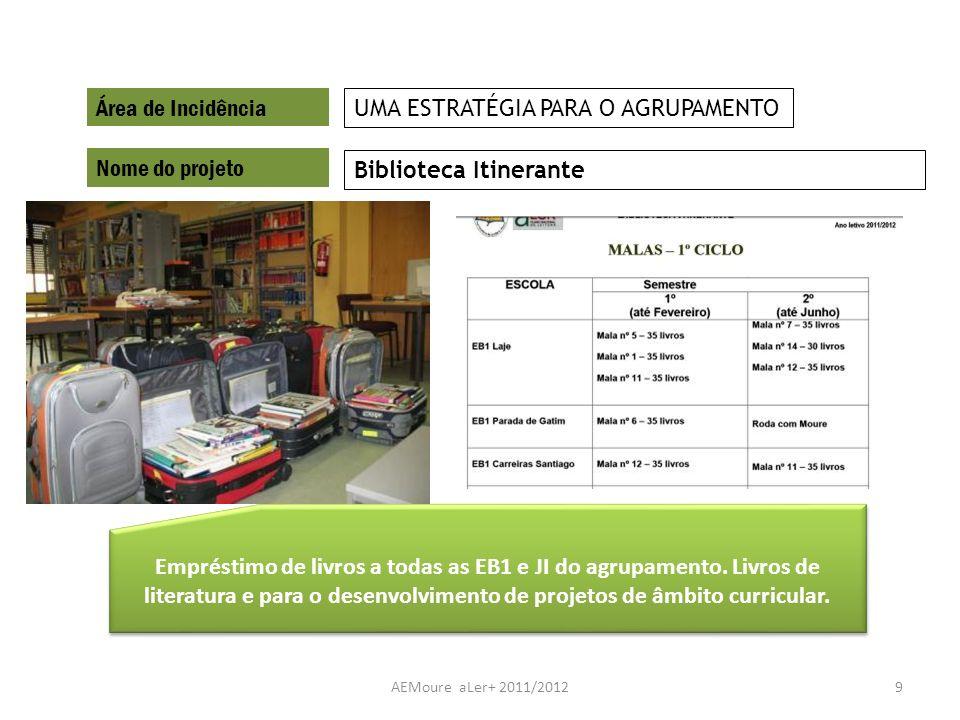 AEMoure aLer+ 2011/20129 Área de Incidência Nome do projeto Biblioteca Itinerante UMA ESTRATÉGIA PARA O AGRUPAMENTO Empréstimo de livros a todas as EB