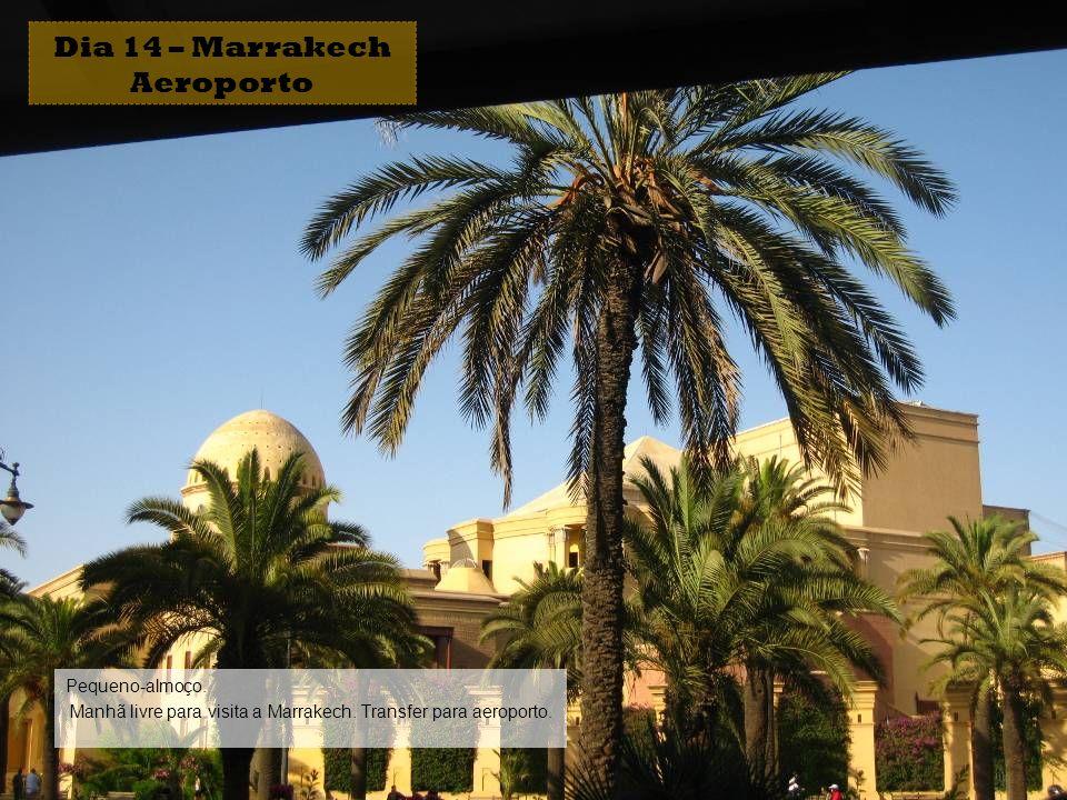 Pequeno-almoço. Manhã livre para visita a Marrakech. Transfer para aeroporto. Dia 14 – Marrakech Aeroporto