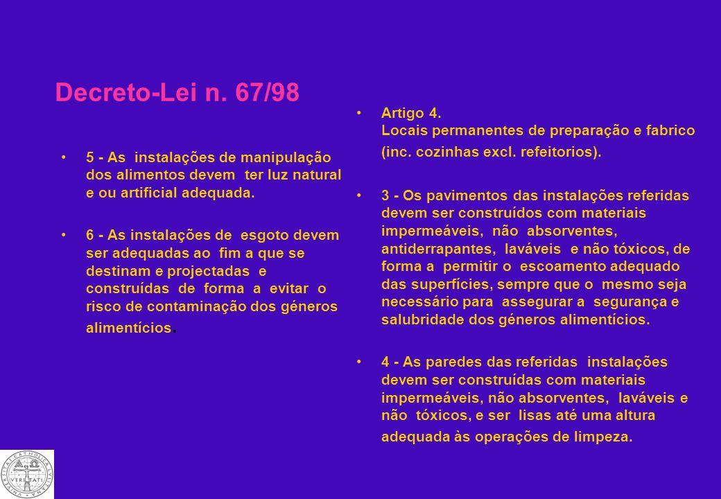 Decreto-Lei n. 67/98 4 - devem possuir: a) Lavatórios em número suficiente, devidamente localizados e sinalizados, para lavagem das mãos, equipados co