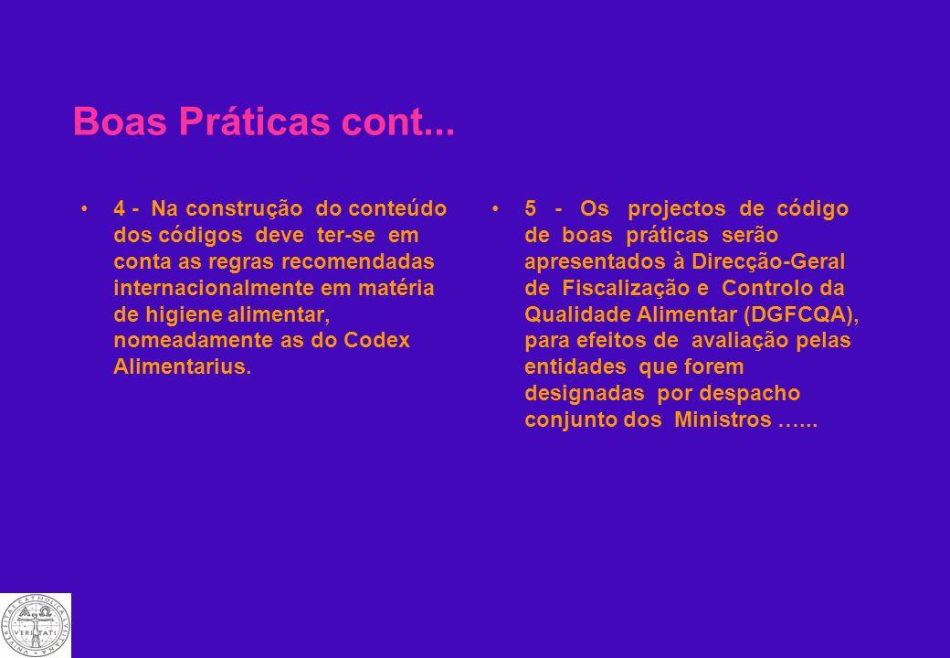Códigos de Boas Práticas Actualmente sãooficializados no DL 67/98, de Março. Artigo 4. Códigos de boas práticas de higiene 1 - As autoridades competen