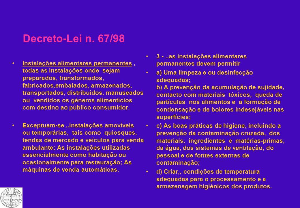 Decreto-Lei n. 67/98 ANEXO REGULAMENTO DA HIGIENE DOS GÉNEROS ALIMENTÍCIOS CAPÍTULO I Disposições gerais Artigo 1. Âmbito de aplicação Artigo 2. Defin