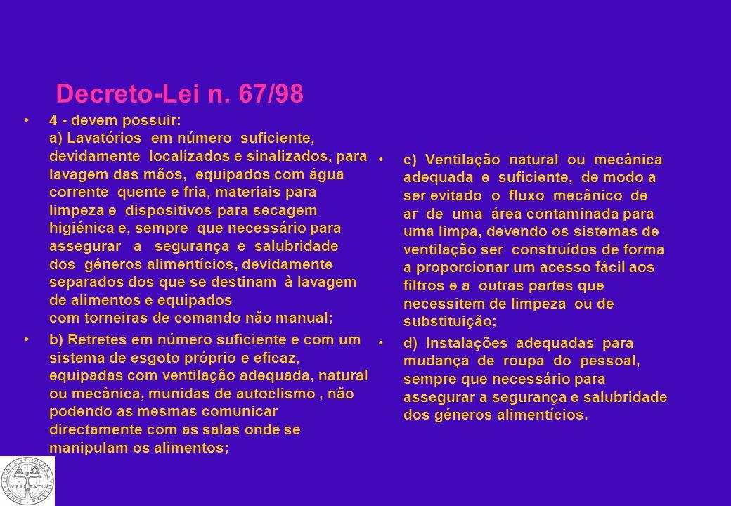 Decreto-Lei n. 67/98 Instalações alimentares permanentes, todas as instalações onde sejam preparados, transformados, fabricados,embalados, armazenados