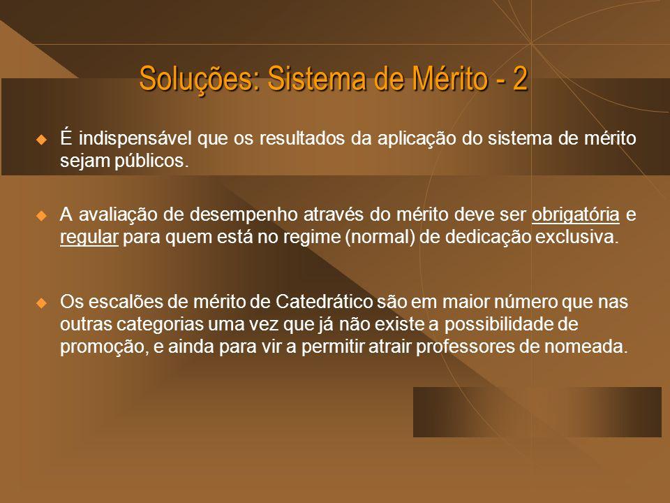 Soluções: Sistema de Mérito - 2 É indispensável que os resultados da aplicação do sistema de mérito sejam públicos. A avaliação de desempenho através