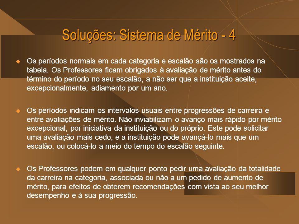 Soluções: Sistema de Mérito - 4 Os períodos normais em cada categoria e escalão são os mostrados na tabela.