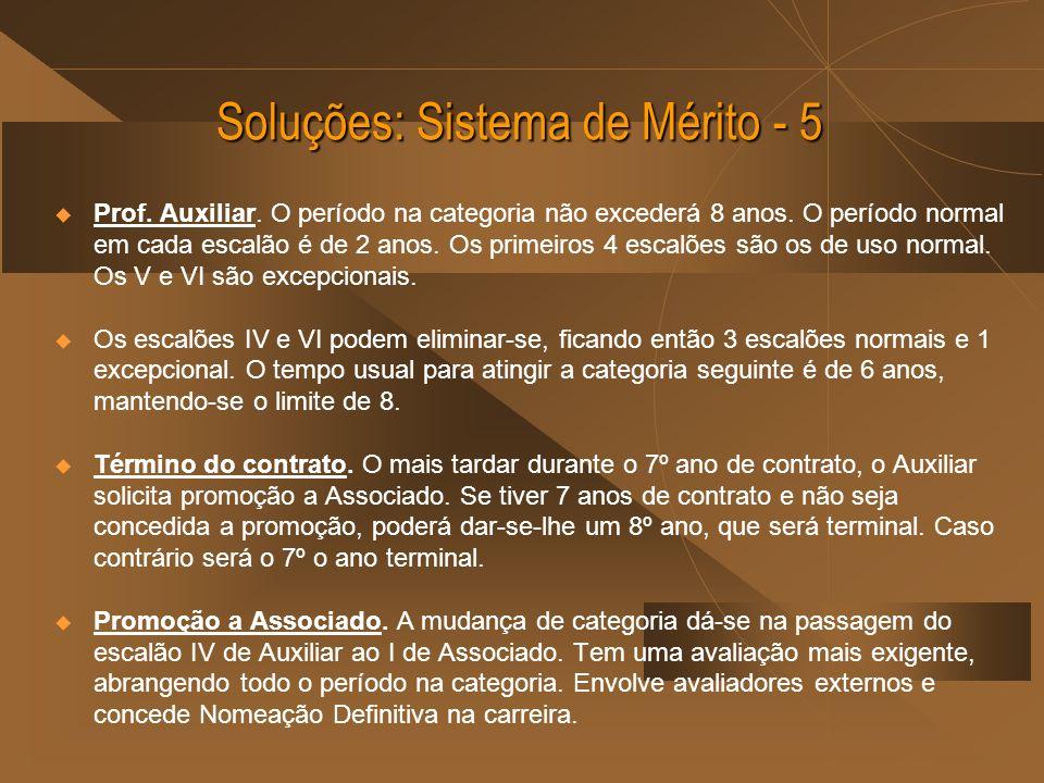 Soluções: Sistema de Mérito - 5 Prof. Auxiliar. O período na categoria não excederá 8 anos. O período normal em cada escalão é de 2 anos. Os primeiros
