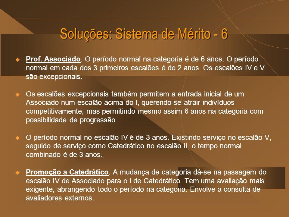 Soluções: Sistema de Mérito - 6 Prof.Associado. O período normal na categoria é de 6 anos.