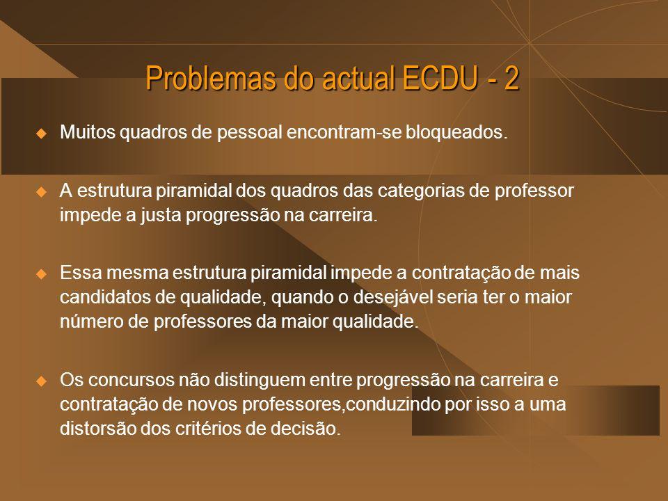 Problemas do actual ECDU - 2 Muitos quadros de pessoal encontram-se bloqueados. A estrutura piramidal dos quadros das categorias de professor impede a
