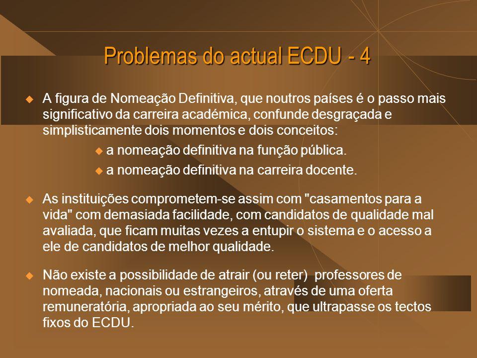 Problemas do actual ECDU - 4 A figura de Nomeação Definitiva, que noutros países é o passo mais significativo da carreira académica, confunde desgraçada e simplisticamente dois momentos e dois conceitos: a nomeação definitiva na função pública.