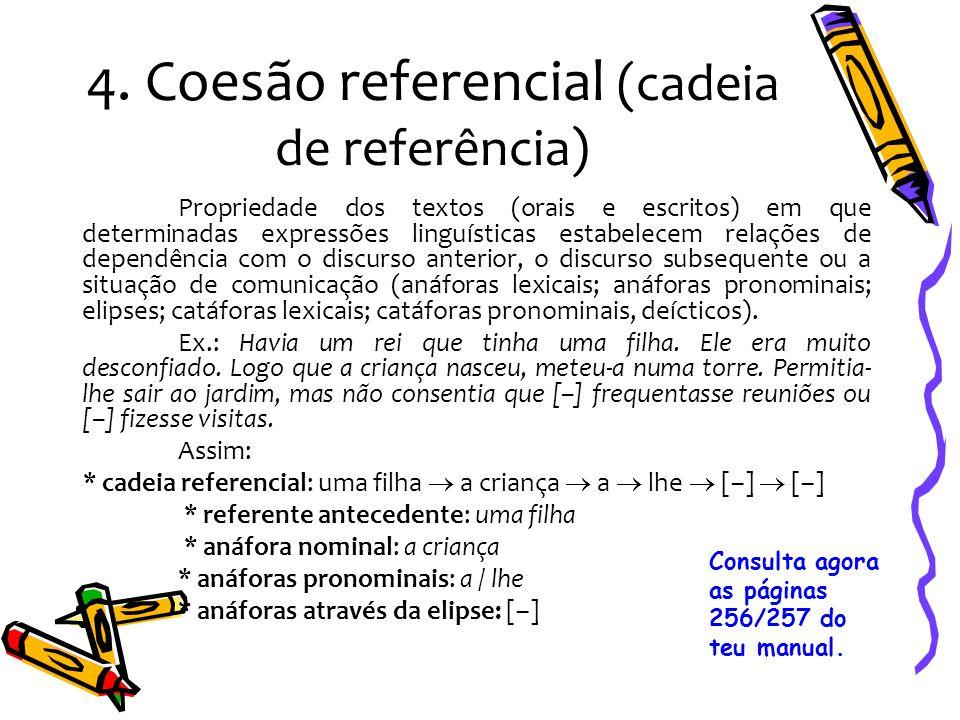 4. Coesão referencial (cadeia de referência) Propriedade dos textos (orais e escritos) em que determinadas expressões linguísticas estabelecem relaçõe