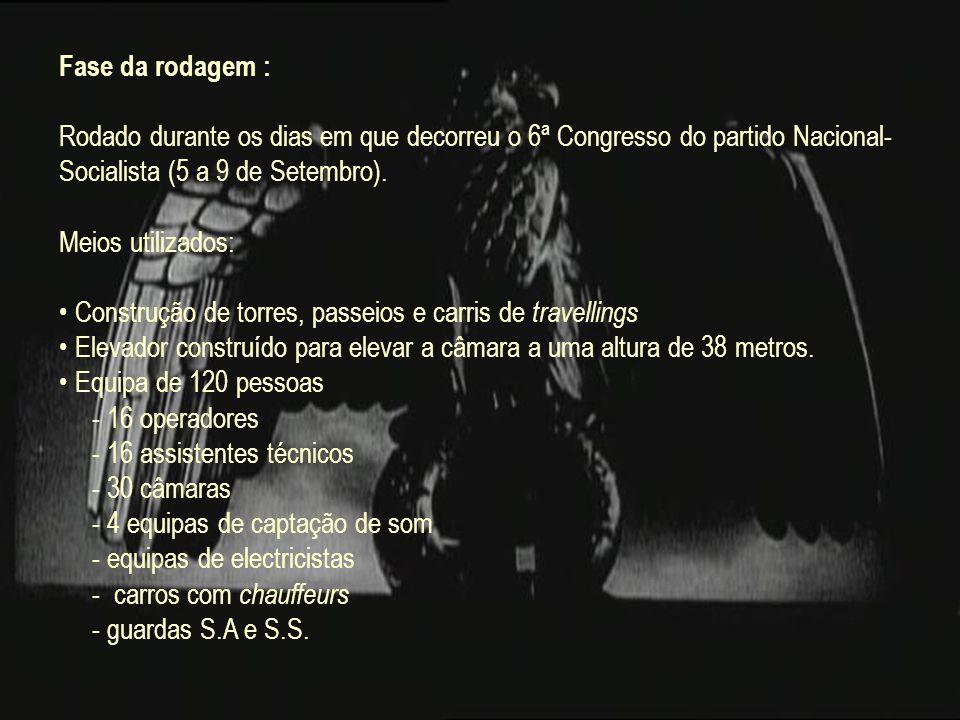 Fase da rodagem : Rodado durante os dias em que decorreu o 6ª Congresso do partido Nacional- Socialista (5 a 9 de Setembro). Meios utilizados: Constru