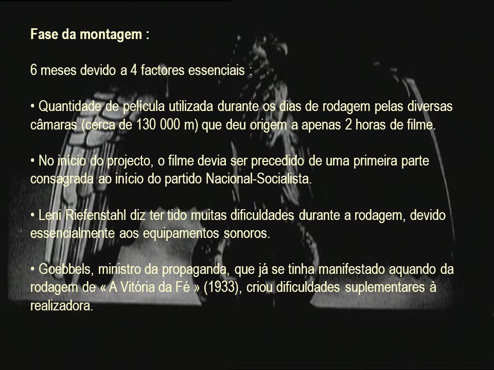 Fase da montagem : 6 meses devido a 4 factores essenciais : Quantidade de película utilizada durante os dias de rodagem pelas diversas câmaras (cerca