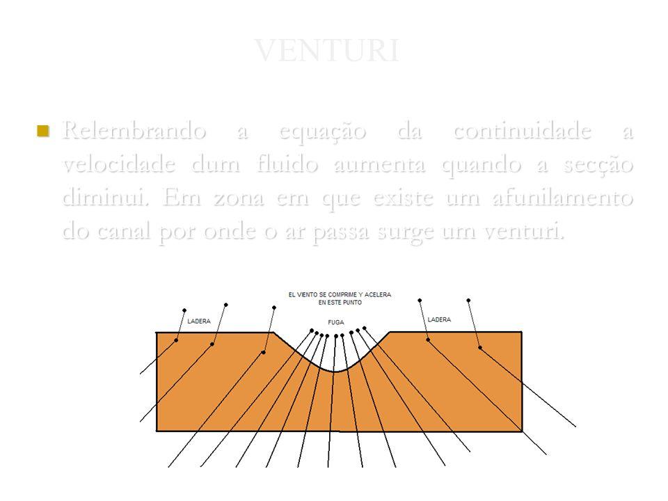 Nuno Gomes 2004 VENTURI Relembrando a equação da continuidade a velocidade dum fluido aumenta quando a secção diminui.
