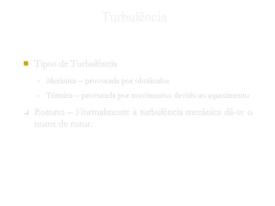 Nuno Gomes 2004 Turbulência Tipos de Turbulência Tipos de Turbulência Mecânica – provocada por obstáculos Mecânica – provocada por obstáculos Térmica – provocada por movimentos devido ao aquecimento Térmica – provocada por movimentos devido ao aquecimento Rotores – Normalmente à turbulência mecânica dá-se o nome de rotor.