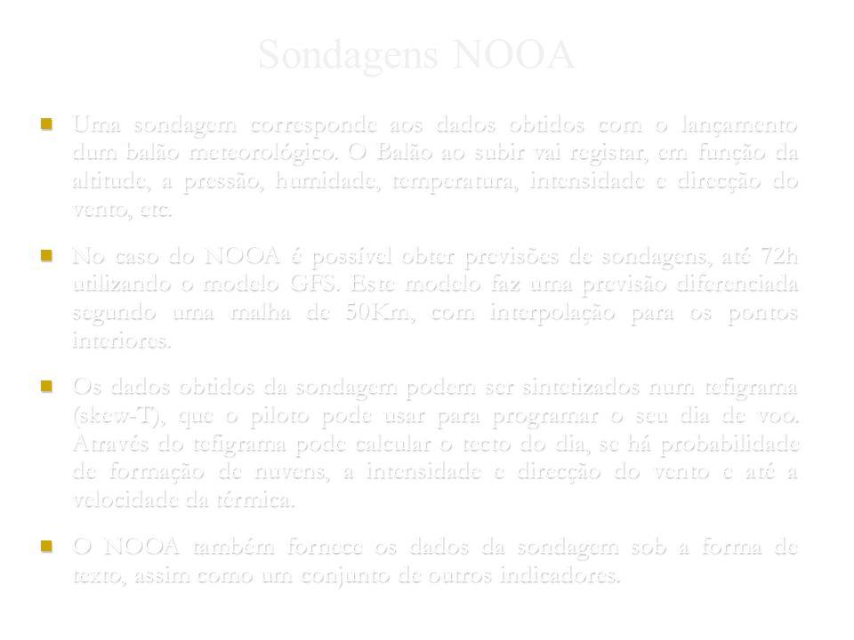 Nuno Gomes 2004 Sondagens NOOA Uma sondagem corresponde aos dados obtidos com o lançamento dum balão meteorológico.