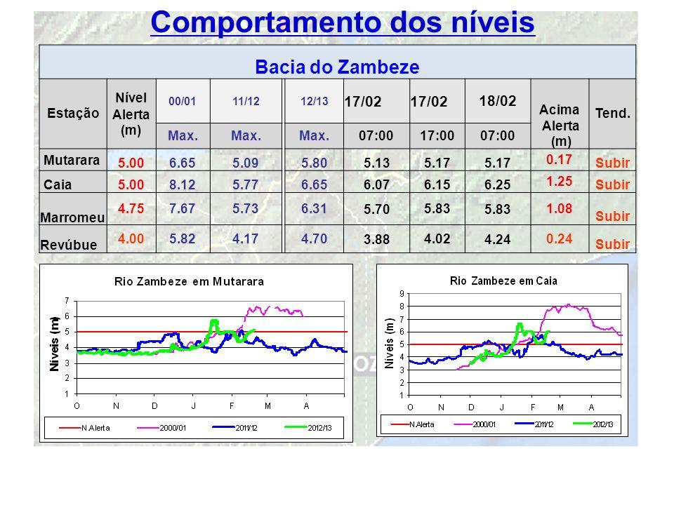 10 Comportamento dos níveis Bacia do Zambeze Estação Nível Alerta (m) 00/0111/1212/13 17/02 18/02 Acima Alerta (m) Tend. Max. 07:0017:0007:00 Mutarara