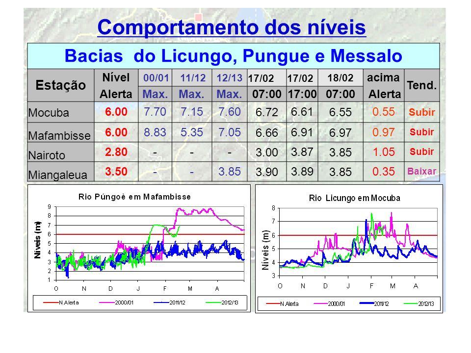 11 Comportamento dos níveis Bacias do Licungo, Pungue e Messalo Estação Nível 00/01 11/1212/1317/02 18/02 acima Tend. AlertaMax. 07:0017:0007:00 Alert