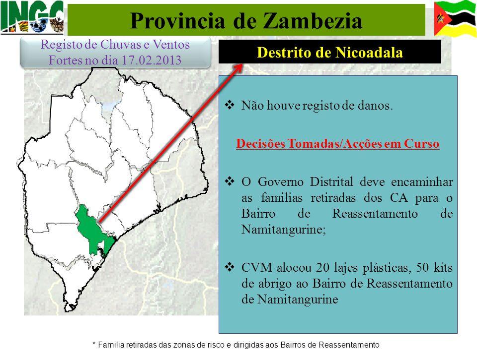 Provincia de Zambezia * Familia retiradas das zonas de risco e dirigidas aos Bairros de Reassentamento Não houve registo de danos. Decisões Tomadas/Ac