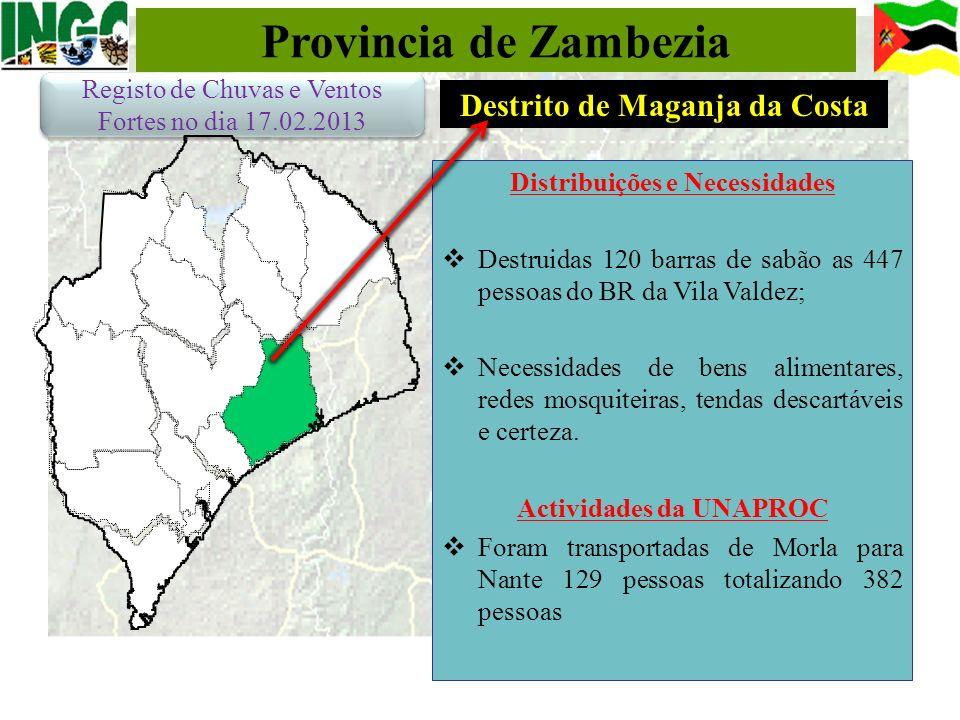 Provincia de Zambezia Distribuições e Necessidades Destruidas 120 barras de sabão as 447 pessoas do BR da Vila Valdez; Necessidades de bens alimentare