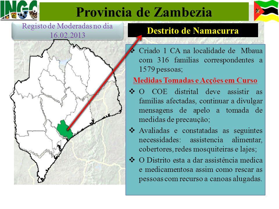 Provincia de Zambezia Criado 1 CA na localidade de Mbaua com 316 familias correspondentes a 1579 pessoas; Medidas Tomadas e Acções em Curso O COE dist