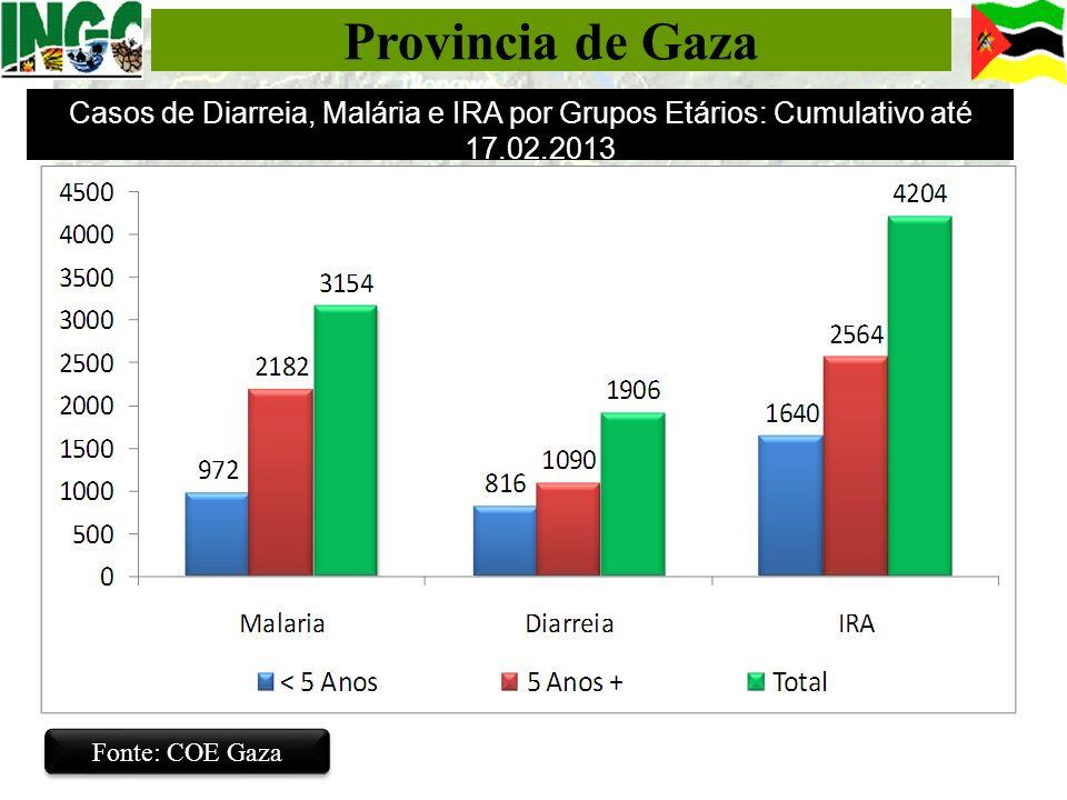 Provincia de Gaza Fonte: COE Gaza Casos de Diarreia, Malária e IRA por Grupos Etários: Cumulativo até 17.02.2013