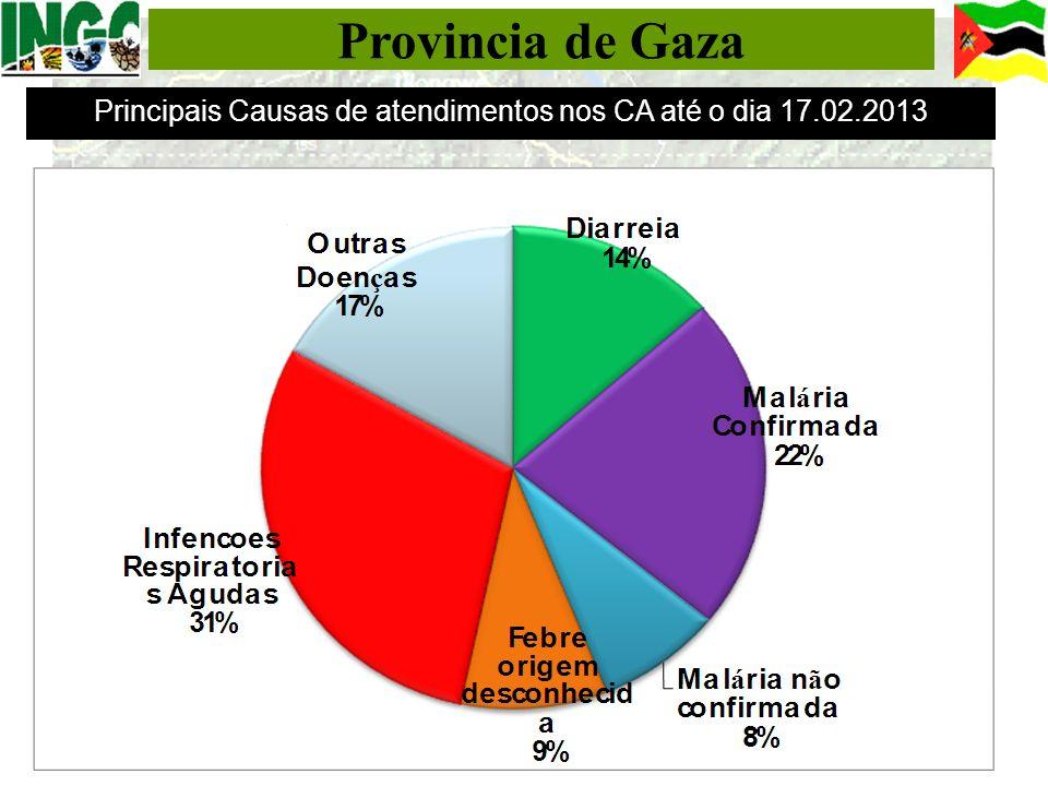 Provincia de Gaza Principais Causas de atendimentos nos CA até o dia 17.02.2013