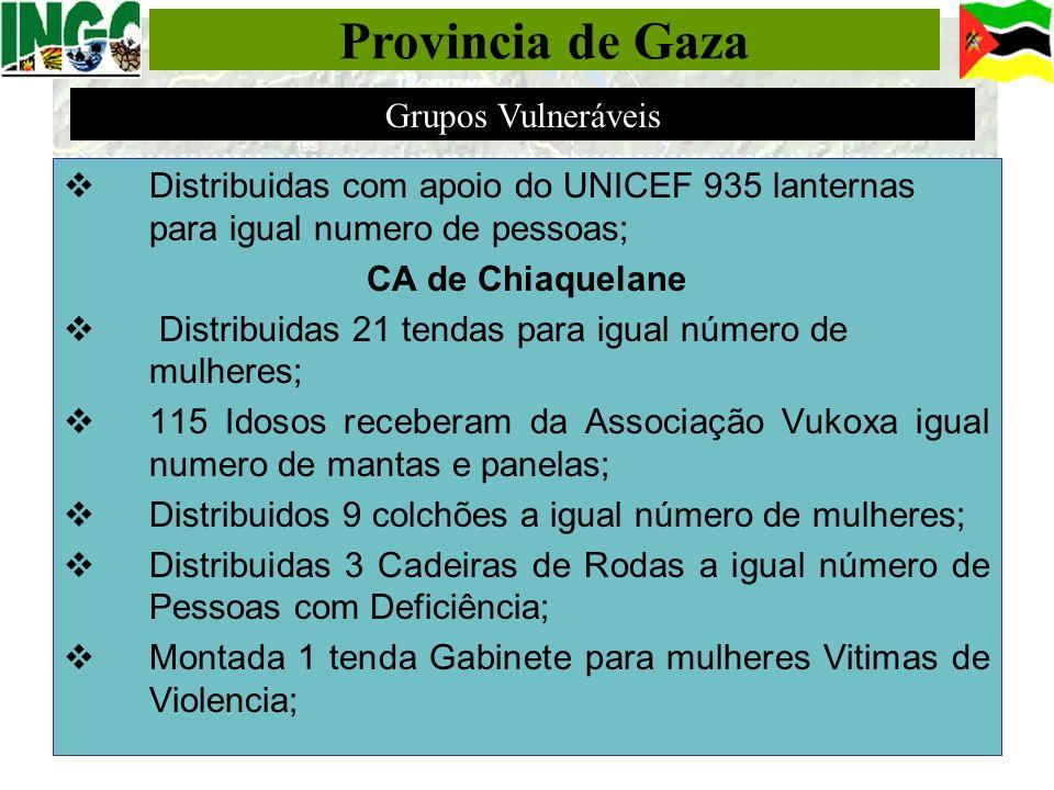 Distribuidas com apoio do UNICEF 935 lanternas para igual numero de pessoas; CA de Chiaquelane Distribuidas 21 tendas para igual número de mulheres; 1
