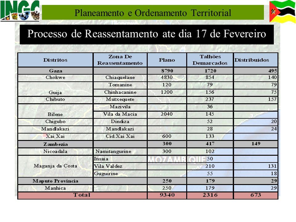 Planeamento e Ordenamento Territorial Processo de Reassentamento ate dia 17 de Fevereiro