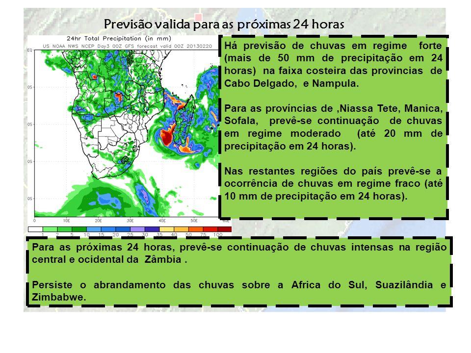 Há previsão de chuvas em regime forte (mais de 50 mm de precipitação em 24 horas) na faixa costeira das provincias de Cabo Delgado, e Nampula. Para as