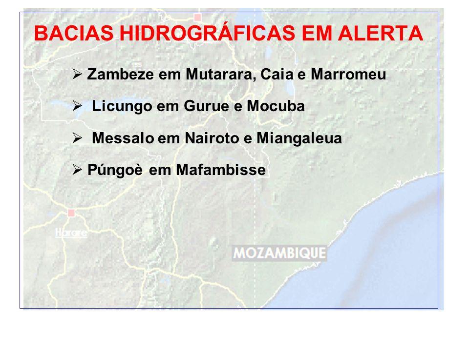 9 BACIAS HIDROGRÁFICAS EM ALERTA Zambeze em Mutarara, Caia e Marromeu Licungo em Gurue e Mocuba Messalo em Nairoto e Miangaleua Púngoè em Mafambisse