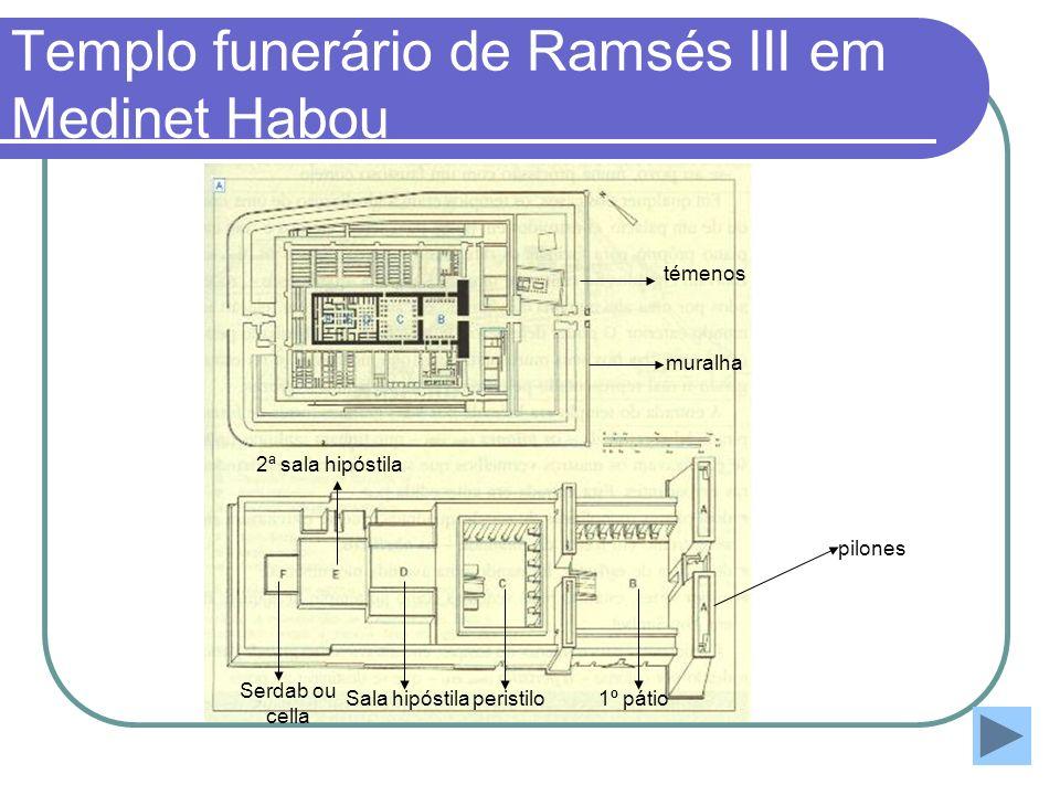 Templo funerário de Ramsés III em Medinet Habou pilones 1º pátioperistilo Sala hipóstila 2ª sala hipóstila Serdab ou cella muralha témenos