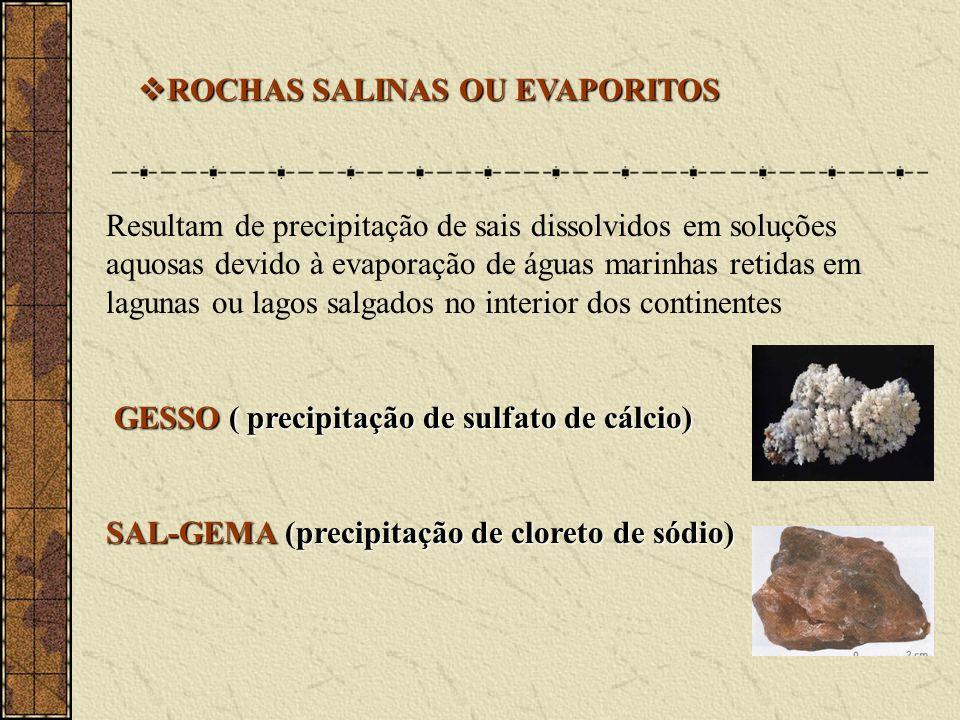 ROCHAS SALINAS OU EVAPORITOS ROCHAS SALINAS OU EVAPORITOS Resultam de precipitação de sais dissolvidos em soluções aquosas devido à evaporação de águas marinhas retidas em lagunas ou lagos salgados no interior dos continentes GESSO ( precipitação de sulfato de cálcio) GESSO ( precipitação de sulfato de cálcio) SAL-GEMA (precipitação de cloreto de sódio)