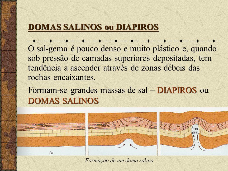 DOMAS SALINOS ou DIAPIROS O sal-gema é pouco denso e muito plástico e, quando sob pressão de camadas superiores depositadas, tem tendência a ascender através de zonas débeis das rochas encaixantes.