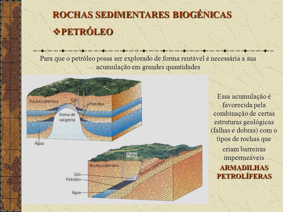 ROCHAS SEDIMENTARES BIOGÉNICAS PETRÓLEO PETRÓLEO Para que o petróleo possa ser explorado de forma rentável é necessária a sua acumulação em grandes quantidades Essa acumulação é favorecida pela combinação de certas estruturas geológicas (falhas e dobras) com o tipos de rochas que criam barreiras impermeáveis ARMADILHAS PETROLÍFERAS