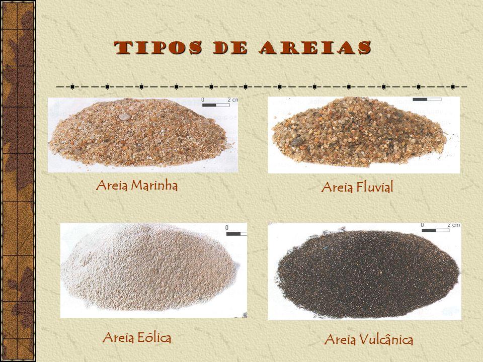 Tipos de Areias Areia Marinha Areia Fluvial Areia Eólica Areia Vulcânica